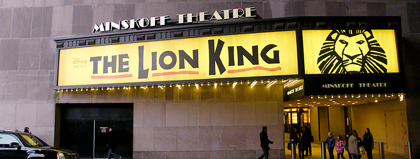 Going to watch The Lion King on Broadway, New York, USA